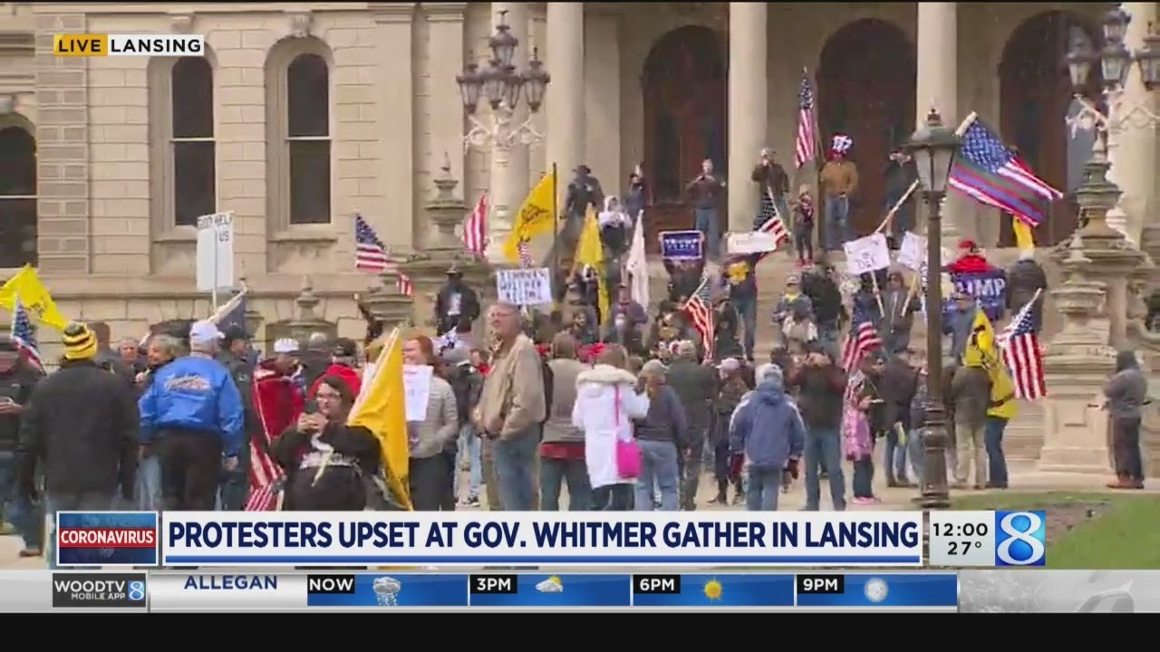 Protesters in opposition of stay-home order gather at Michigan ...