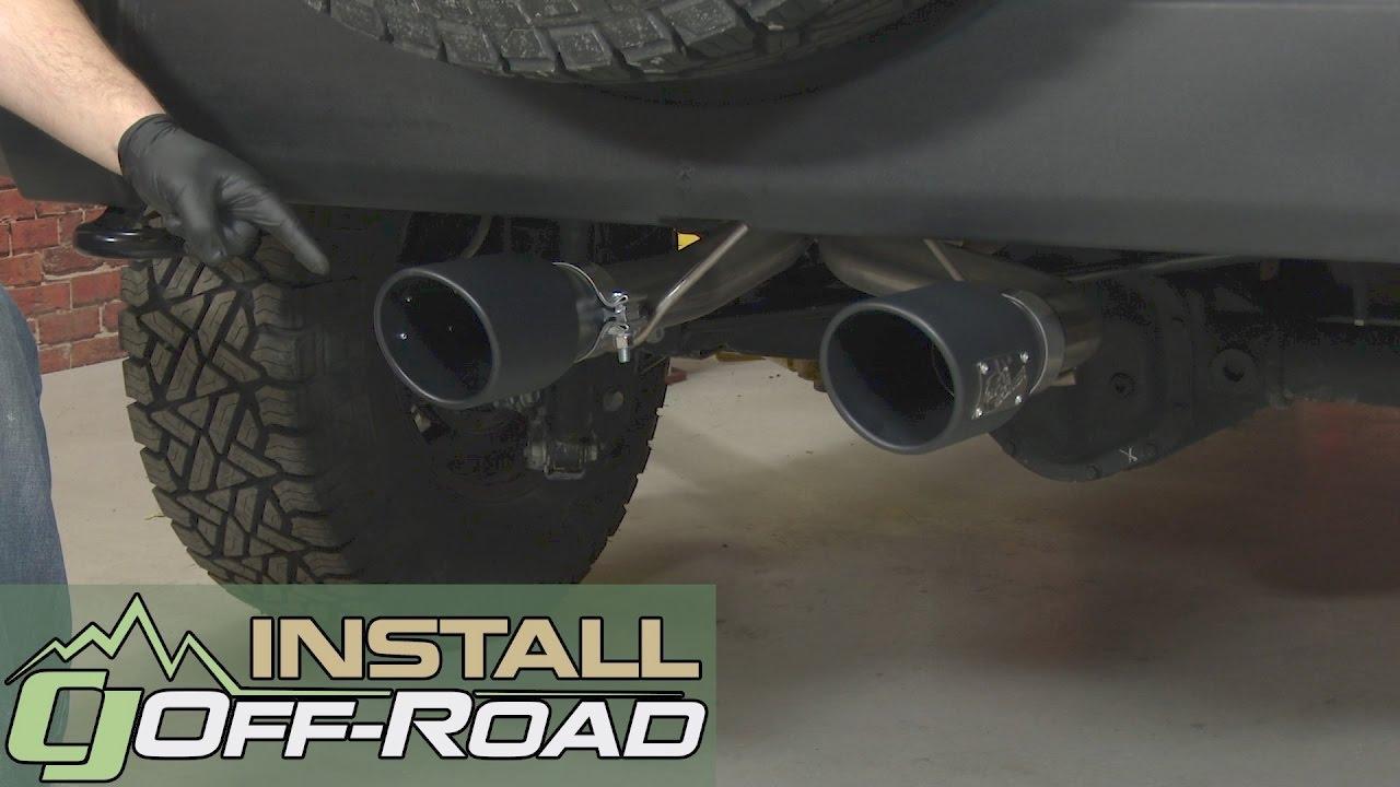 jeep wrangler jk afe cat back exhaust 2 1 2 rebel dual exit w 4 1 2 blk tips 2007 18 installation