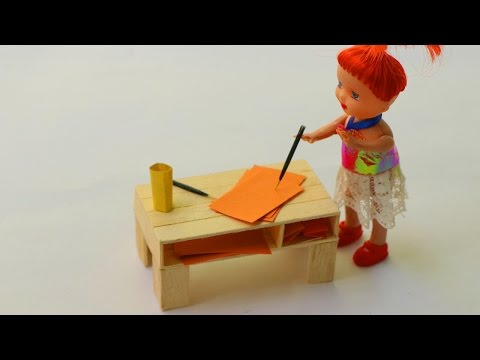 How to Make Popsicle Stick Doll Reading Table - DIY Wooden Table