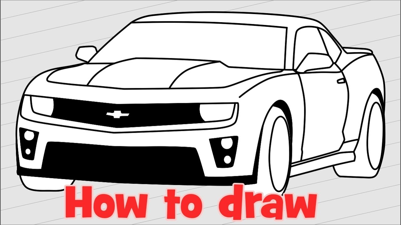 How to draw a car Chevrolet Camaro ZL1 step by step - YouTube