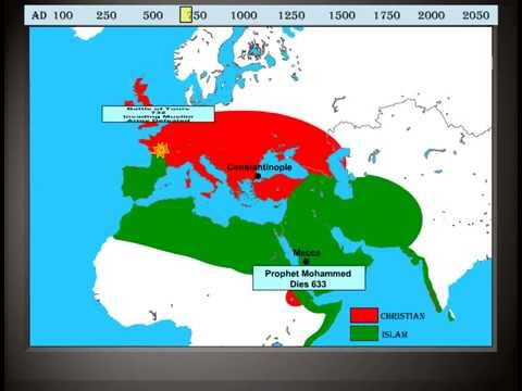 Animated Map of Christianity and Islam A History of Conflict Year 1