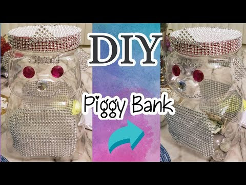 How to make piggy bank using plastic container/ DIY