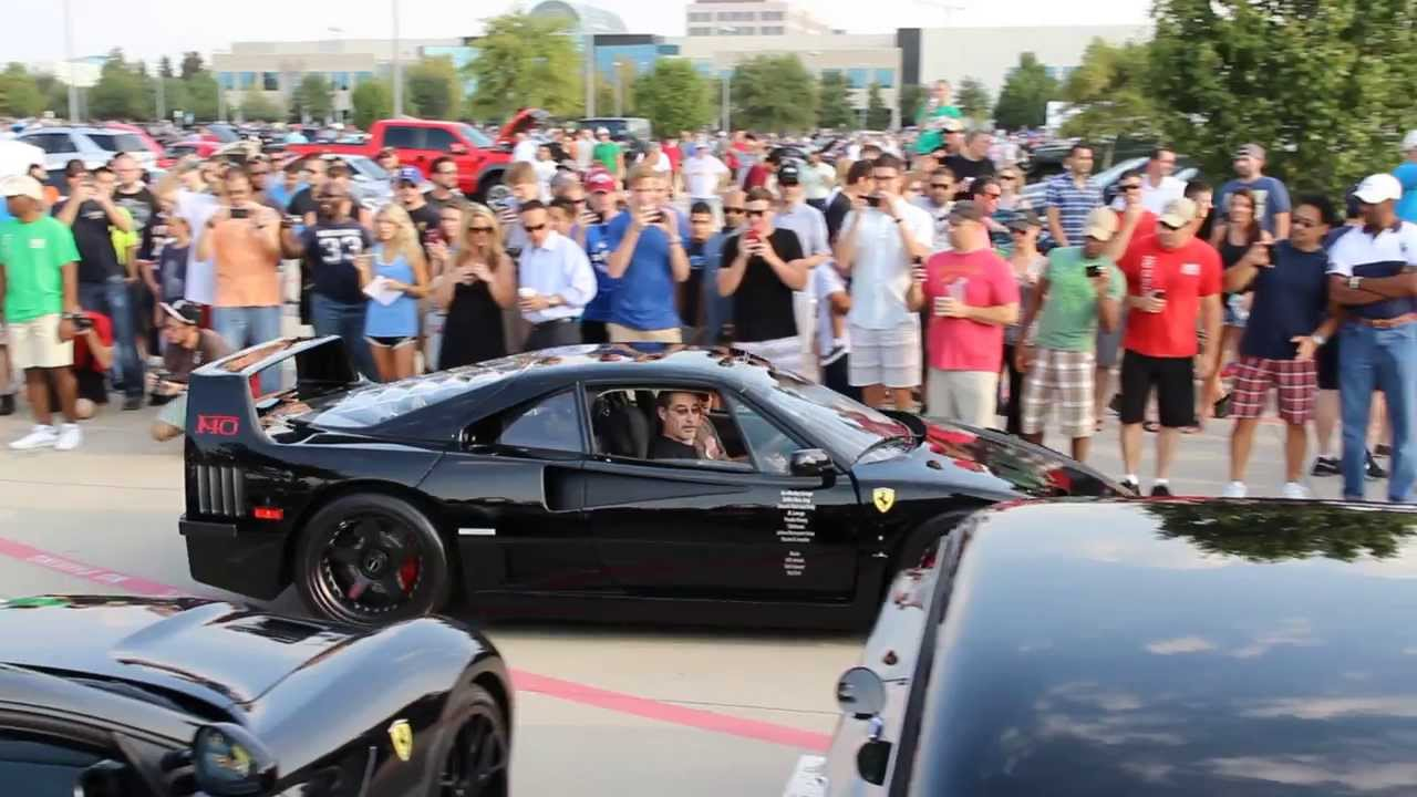 Dallas Car Show >> Cars and Coffee Dallas. GAS MONKEY F40, Aventador Roadster, and LOUD 599 Rev - YouTube