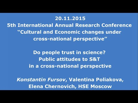 20.11.2015: Do people trust in science? Public attitudes to S&T in a cross-national perspective