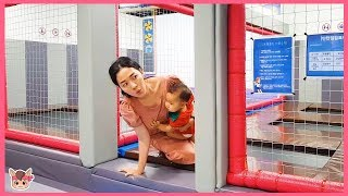 엄마 몰래 방탈출 하기! 국민이 슈퍼윙스 키즈카페 놀이 baby pretend play with playground nursery rhymes songs for kids