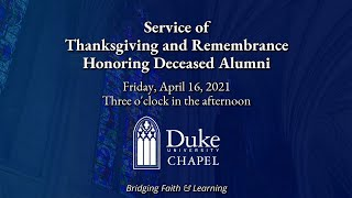 Service of Thanksgiving and Remembrance Honoring Deceased Alumni