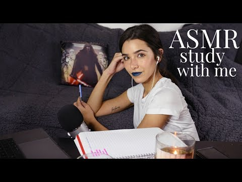 ASMR Study With Me! (Inaudible whispers, tapping, paper sounds, keyboard, study ambiance)