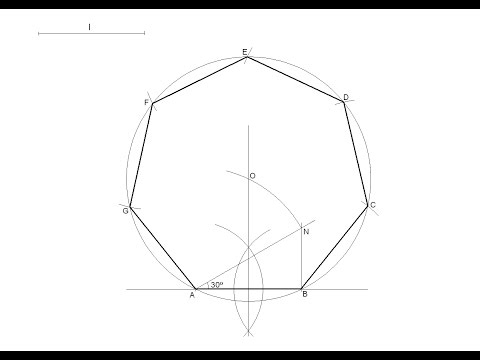 How to draw a regular heptagon knowing the length of one