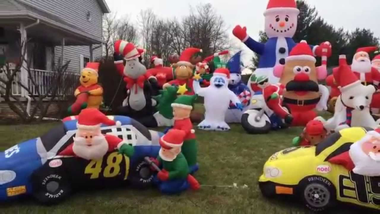airblown christmas display 2014 walk by youtube - Christmas Airblown Inflatables