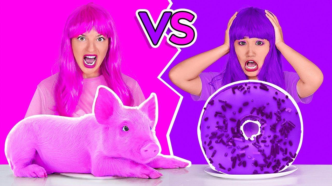 MAKAN SATU WARNA MAKANAN DALAM 24 JAM! Tantangan Makan Warna Pink vs Ungu oleh 123 GO! CHALLENGE