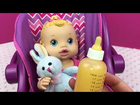 Feeding my Baby Alive Sip N Slurp Doll Drinks Orange Doll Juice in New Pet Bottle