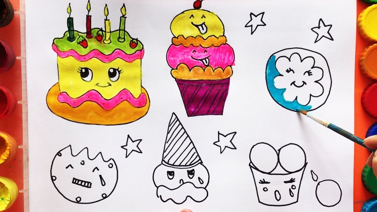 Birthday Cake And Ice Cream Drawing