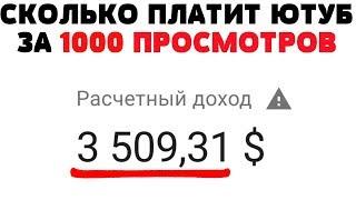Сколько платит Ютуб за 1000 просмотров