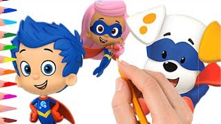 How to Draw Bubble Guppies Super Guppies Coloring Pages Videos for Kids
