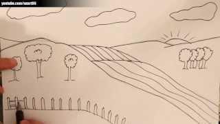 Como dibujar un paisaje facil
