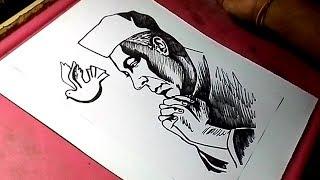 How to Draw Pandit Jawaharlal Nehru Drawing for Kids