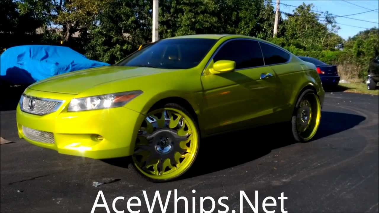 """AceWhips.NET- Female's Candy Lime Gold Honda Accord Coupe on 26""""s Forgiatos - NEW Paintjob ..."""