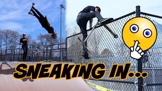 BREAKING INTO  A CLOSED SKATEPARK!!! (almost caught)