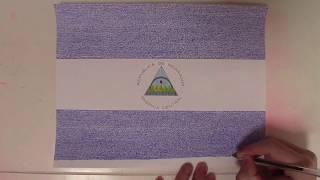 40. BANDERA DE NICARAGUA LAPSO DE TIEMPO DE ESCRIBIR   NICARAGUA  FLAG WRITING TIME LAPSE