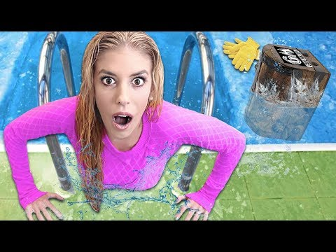 FOUND Mystery TREASURE BOX Hidden in BACKYARD ice POOL! (Polar Plunge to reveal 24 hour Challenge)