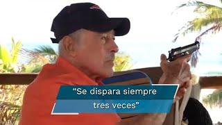 """Enmedio de una charla con Rosado, el actor sacó un arma y la accionó al aire; Yordi preguntó si era legal disparar y García respondió: """"Me vale madre, si te vas a ajustar a lo que es legal no te dejan ir al baño"""""""