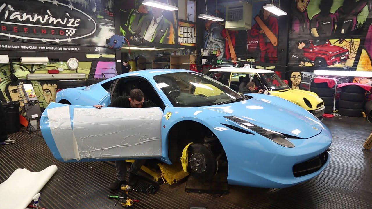 Ferrari 458 gets wrapped Baby Blue! - YouTube