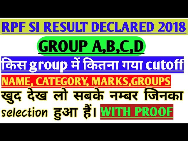 RPF SI RESULT DECLARED||| CUT OFF , MARKS, GROUP, CATEGORY, SELECTION|| FULL DETAIL WITH PROOF