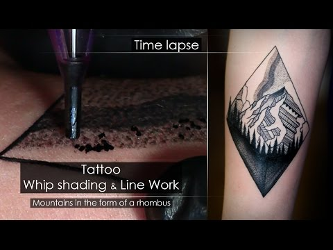 Tattoo techniques - Line work & Whip shading - Close up process [Time lapse] Full HD