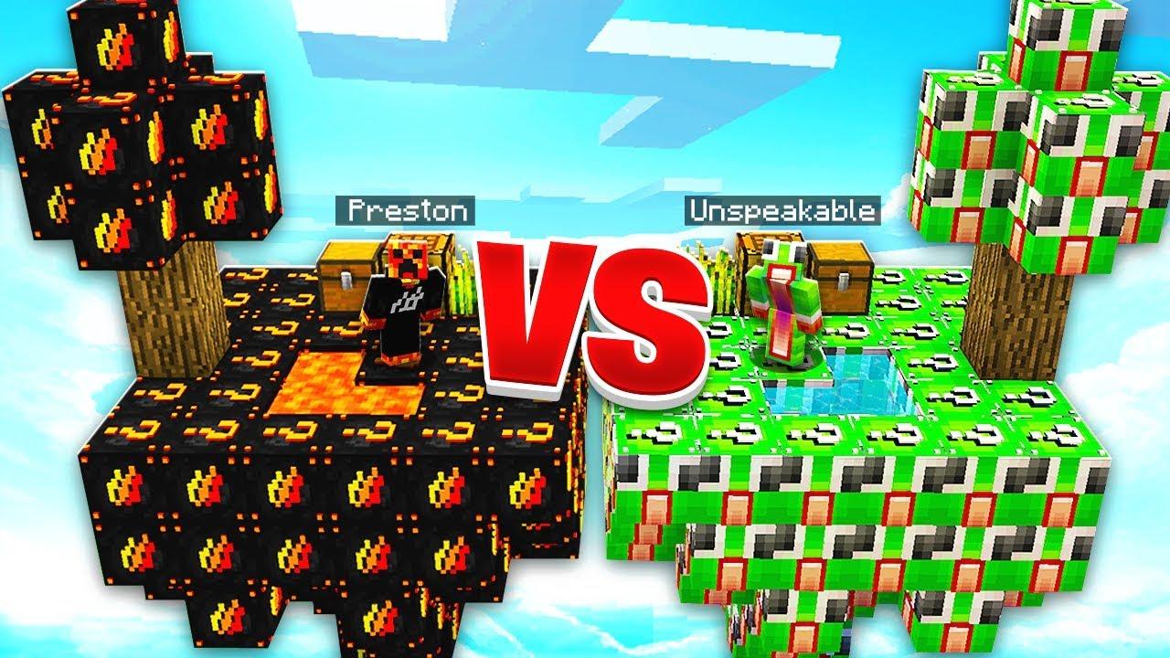 PRESTONPLAYZ vs UNSPEAKABLEGAMING LUCKY BLOCKS! - 100v100 Minecraft Modded Sky  Wars