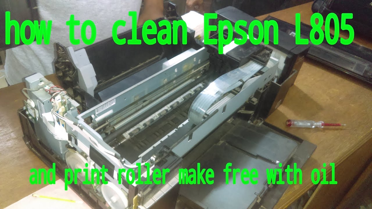 how to clean latest colour printer Epson L805 roller make oil