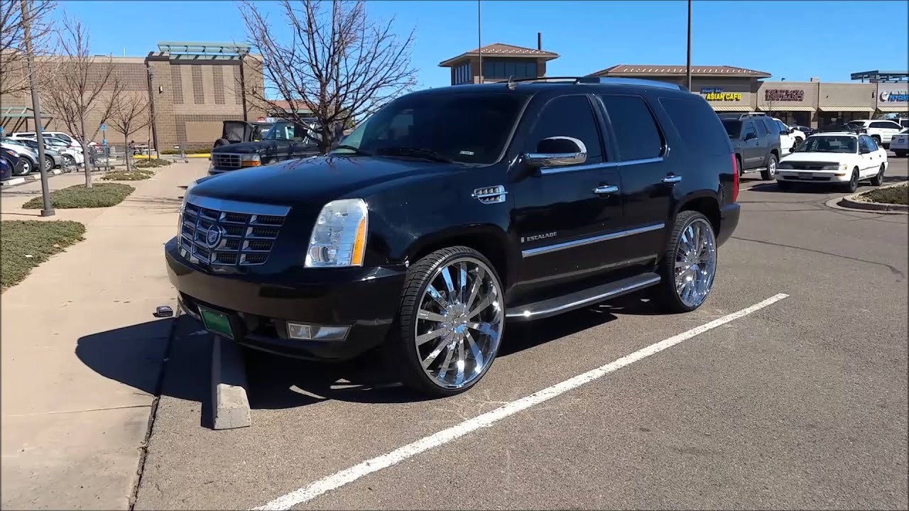 Cadillac Escalade With Black Rims >> Escalade Sitting On 28 inch Gianelle Rims - YouTube