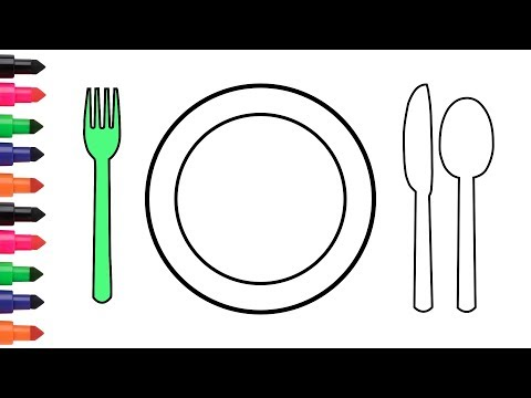 Coloring Pages Dinner Plate Spoon Fork | How To Draw | Video For Kids #6