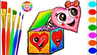 How to Draw a Heart Surprise Box Toy | Learning Coloring Page | Learn Drawing Art for Kids