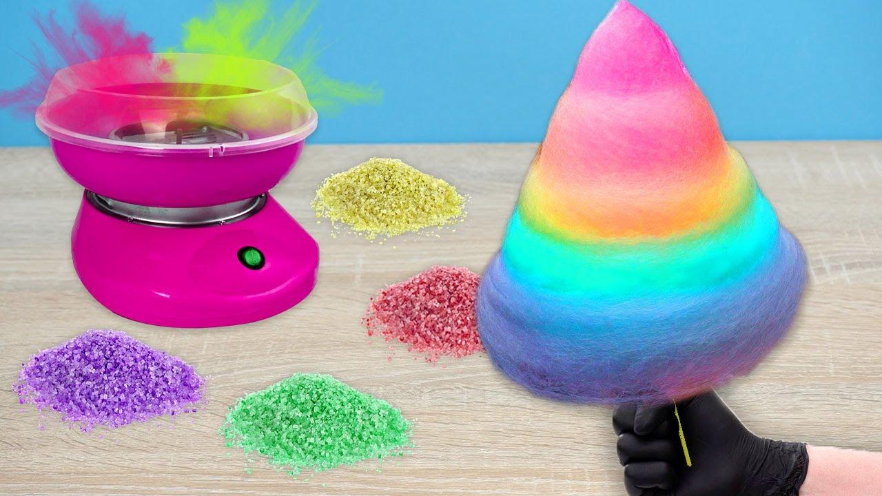 Делаю РАДУЖНУЮ сахарную ВАТУ! САМЫЙ ДЕШЕВЫЙ аппарат для сахарной ваты!