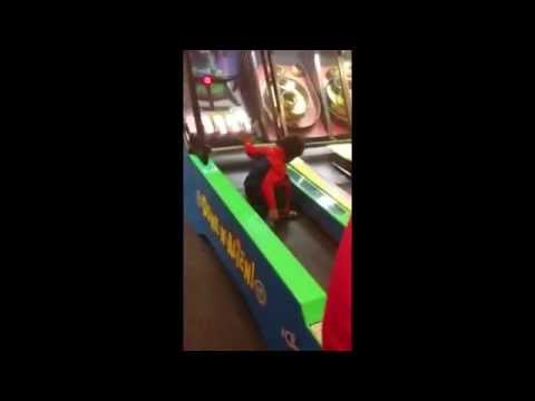 Crazy kid goes nuts at Chuck E Cheese