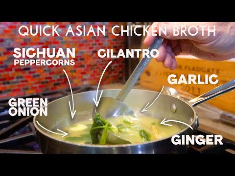 Quick Asian Chicken Broth | SAM THE COOKING GUY
