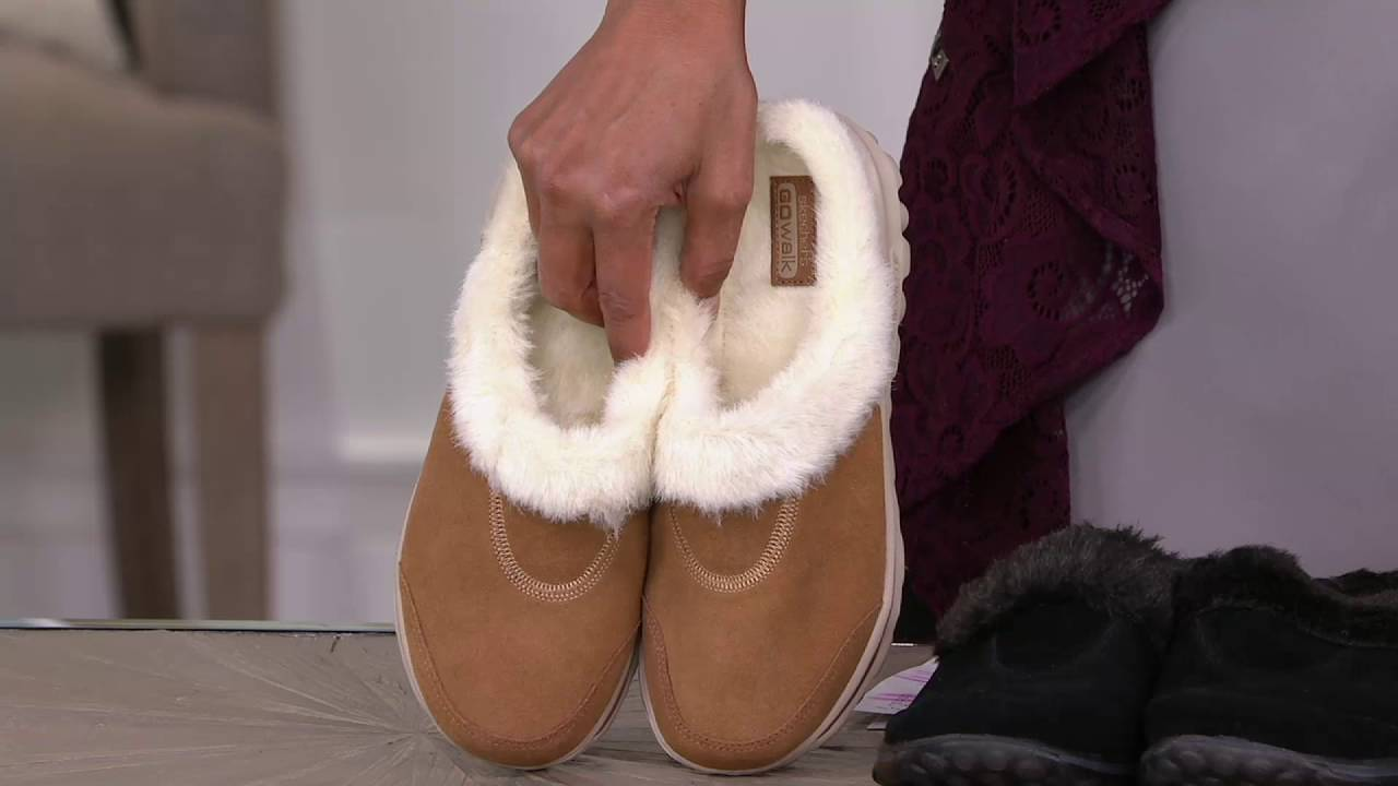 beauty coupon code classic fit Skechers GOwalk Suede Clogs with Faux Fur Lining - Cozy on QVC
