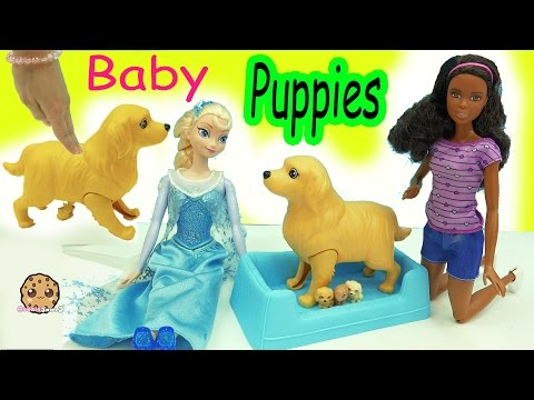 Thumbnail: Barbie Doll Dog Has Color Changing Newborn Baby Puppies Inside Belly + Surprise Blind Bags