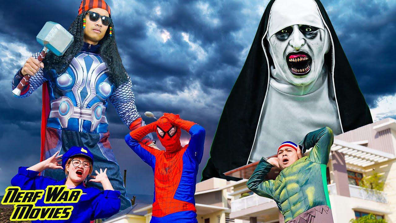 Nerf War Movies:  Spiderman X Warriors Nerf Guns Fight Criminal Group Valak & Zombie Attack
