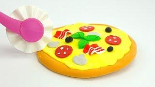 Играем с пластилином для детей, лепим пиццу