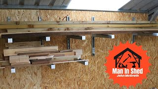 Lumber/Timber Storage Rack. Very  Simple,  Very Strong, Very Modular.Made with Unistrut.