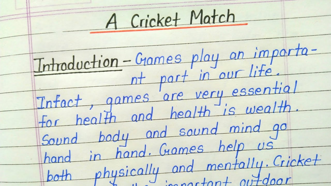 Essay on cricket match in english functional resume engineering sample