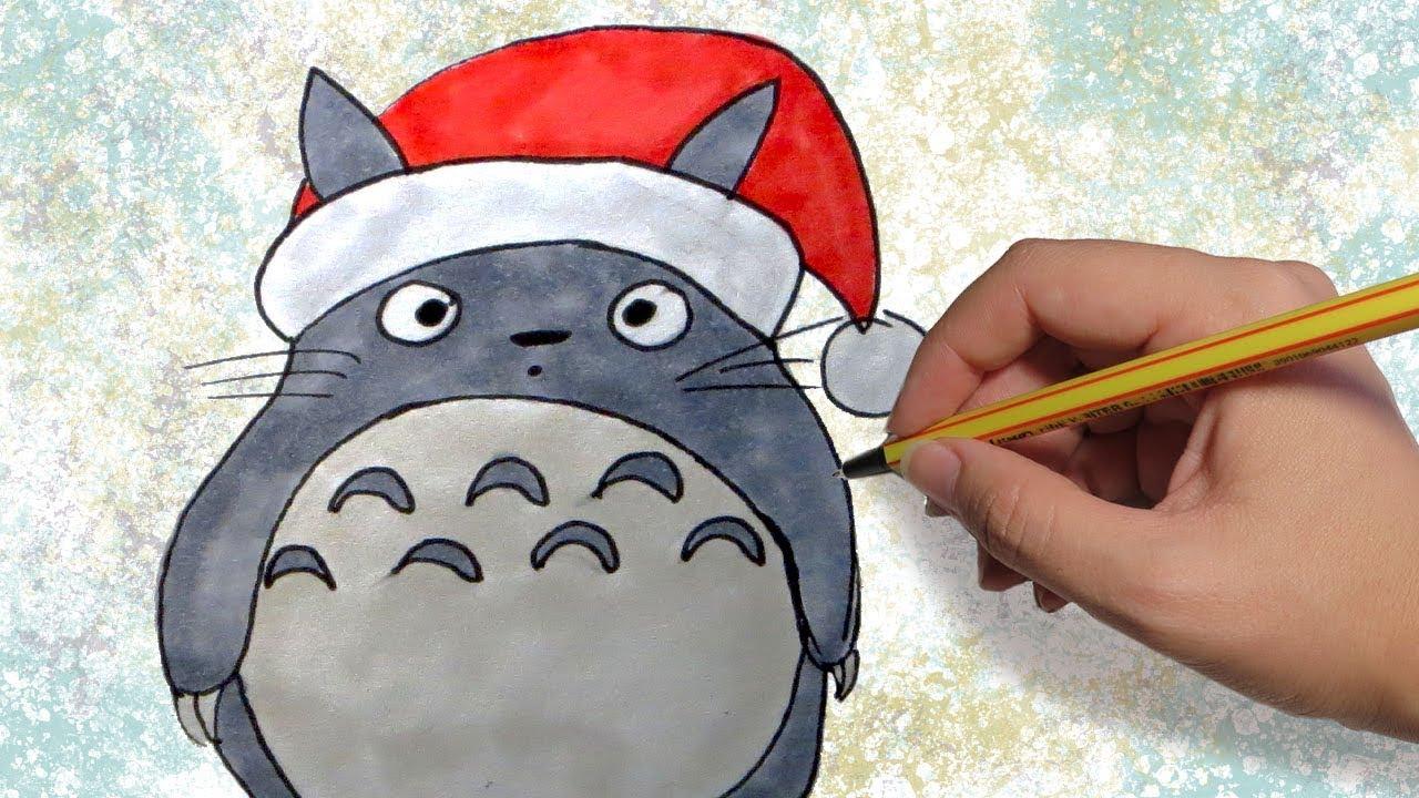 COMO DIBUJAR A TOTORO DE NAVIDAD: Dibujos de navidad para niños facil paso a paso