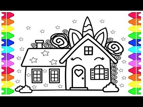GLITTER UNICORN MAGICAL HOUSE COLORING FUN for KIDS ...