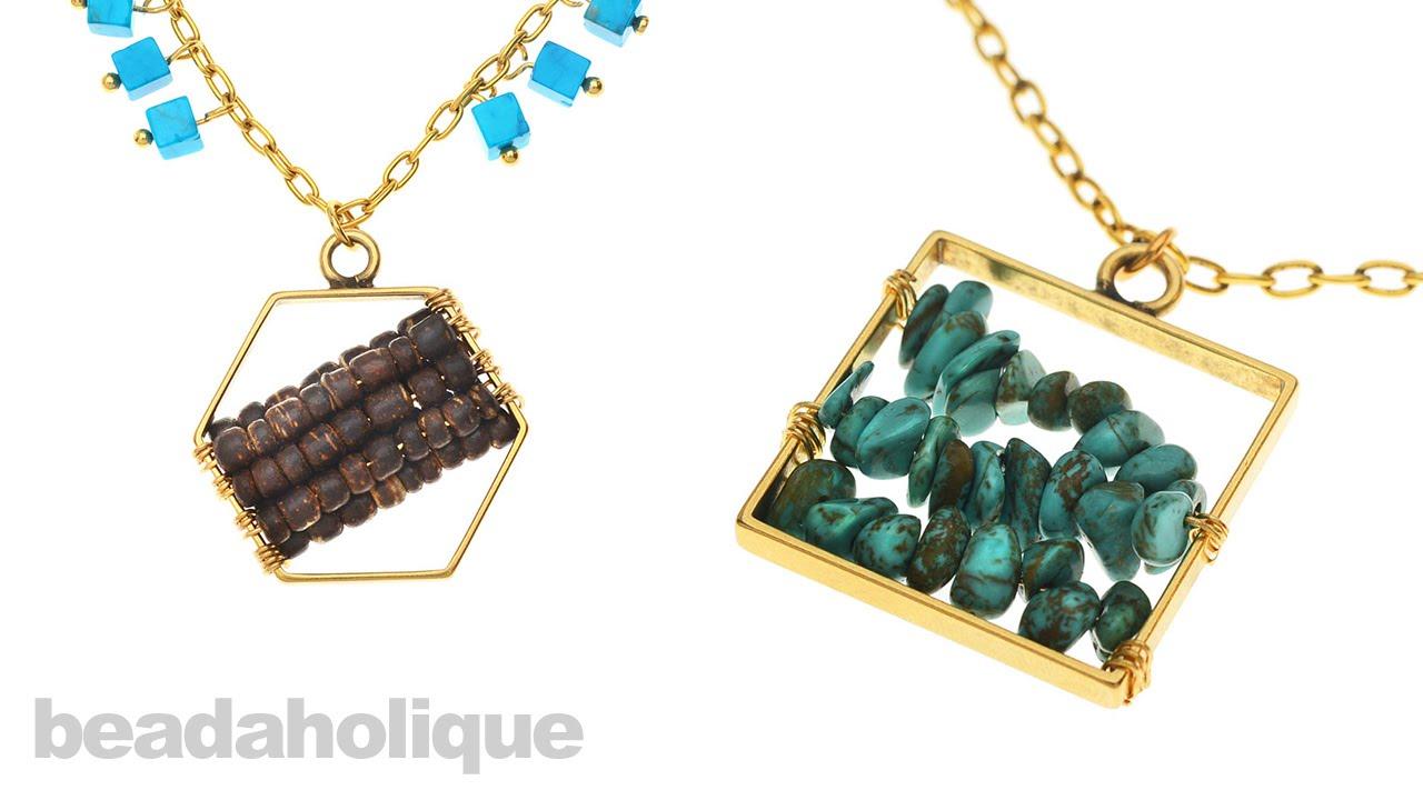 How to Wire Wrap Beads onto a Nunn Design Open Frame Pendant - YouTube