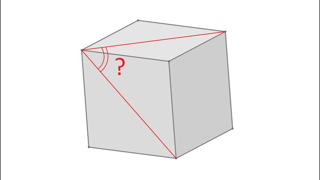 Классика для начинающих ★ Найдите угол между двумя диагоналями граней куба на рисунке