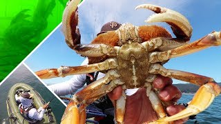 COMBO! Ocean Crab and Rockfish from a Cheap Raft | Fascinating Crab Pot Footage
