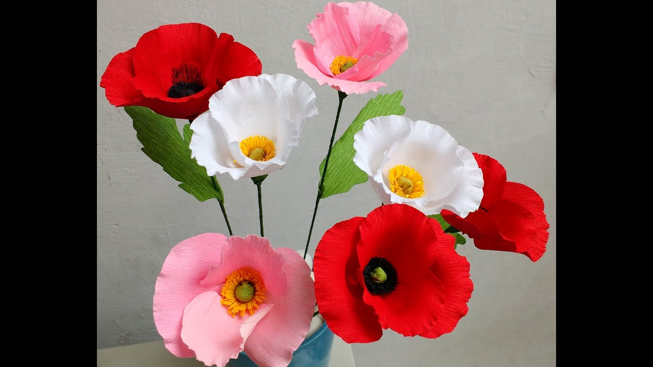 How to make paper flowers poppy flower 80 youtube mightylinksfo