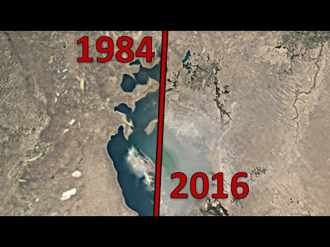 Aral Sea timelapse, 33 year evolution of the Aral sea dying out - satellite timelapse