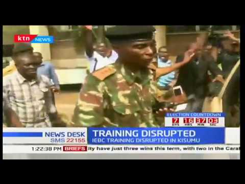 Drama in Kisumu as several IEBC officials who were conducting training were disrupted by a rowdy mob